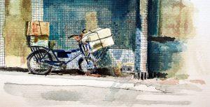 Bicicleta Aracaju, esboço aquarela., Maxime Bally.