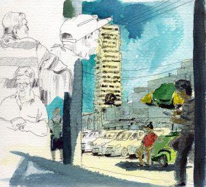 Centro Aracaju, esboço aquarela, Maxime Bally.