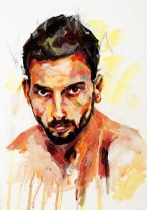 Autoportait peinture acrylique Maxime Bally