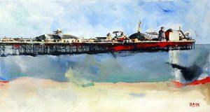 Brighton Pier acrílico pintura tela Maxime Bally