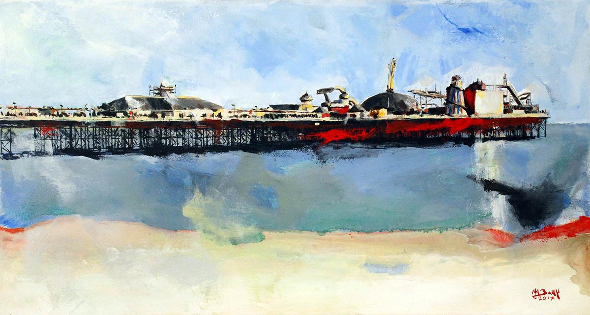 Brighton Pier peinture acrylique Maxime Bally