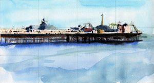 Brighton Pier esboço, aquarela Maxime Bally.