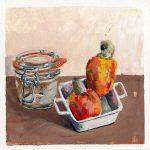 Pomme cajou, peinture gouache papier, Maxime Bally.
