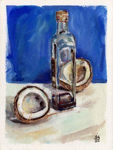 Noix de coco, peinture gouache papier, Maxime Bally.