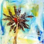 Cocotier, peinture acrylique toile, 35 cm x 35 cm, Maxime Bally.