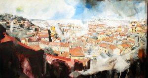 Lisboa, pintura acrílica tela, 80 cm x 150 cm, Maxime Bally.