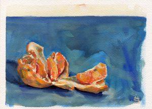 Mandarine, gouache sur papier, Maxime Bally.