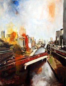 Ochanomizu, pintura acrílica tela, 77 cm x 60 cm, Maxime Bally.