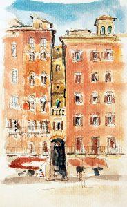Siena aquarela, esboço, Maxime Bally.