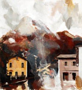 Suíça, pintura acrílica tela, 46,5 cm x 42,5 cm, Maxime Bally.